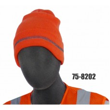 HV ORANGE KNIT ACRYLIC BEANIE, CLASS 2