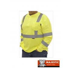 BlazeTex FR Hi-Viz CLASS III Knit Henley Long Sleeve Shirt