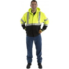 BlazeTex FR Hi-Viz Class III Two-tone Pullover Hooded Zip-Up Sweatshirt