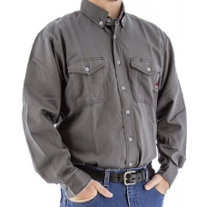 95710E - BlazeTex FR Deluxe Button Down Shirt – Gray