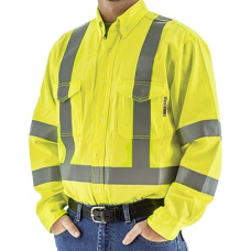 95810Y BlazeTEX FR High Visibility Button Down Work Shirt