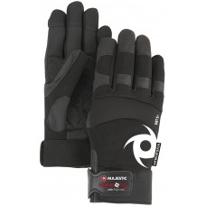 Alycore two layers in palm, one layer in fingers, Armor Skin synthetic leather palm, knit back, Velcro wrist, black.