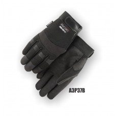 Alycore six layers in palm, three layers in fingers, Armor Skin synthetic leather palm, knit back, Velcro wrist, black.