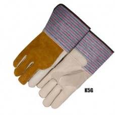 Grain Cowhide Palm & Index Finger, Split Cowhide Back, Rubberized Gauntlet Cuff