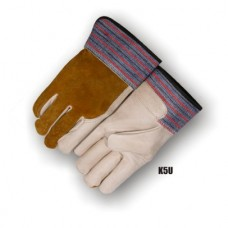 Grain Cowhide Palm & Index Finger, Split Cowhide Back, Wing Thumb, Rubber Safety Cuff, Unlined