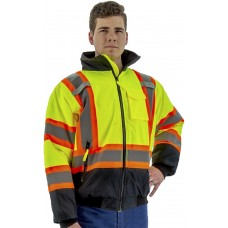 Hi Viz Waterproof Jacket w/ DOT Striping, Quilted Liner, ANSI 3