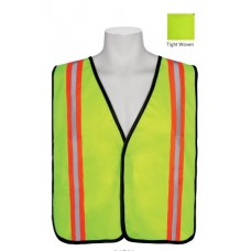 "Lime tight woven mesh vest, 2"" contrasting vertical stripe"