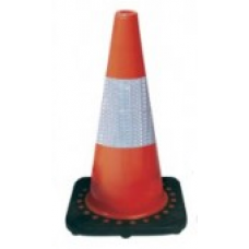 "18"" Safety Cone Brilliant Fluorescent Red-Orange with Reflective Bars"