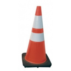 "28"" Safety Cone Brilliant Fluorescent Red-Orange with Reflective Bars"